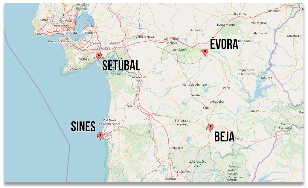 Formação: Sines, Setúbal, Évora, Beja